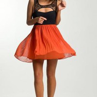 Black and Orange Cutout Tea Dress with Lace Detail