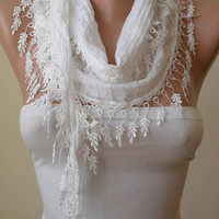 White Cotton and Summer Scarf with White Trim Edge