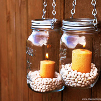Mason Jar Lanterns Hanging Tea Light Luminaries - Set of 2 - Silver Chain - Regular Mouth Style