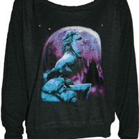 UNICORN Pullover Slouchy &quot;Sweatshirt&quot;  Top American Apparel Black S