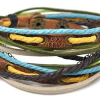 Bangle leather bracelet buckle bracelet unisex bracelet women bracelet man bracelet ropes bracelet with leather ropes and chain 1SZ-LH-293