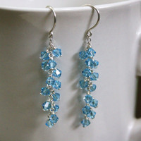Aquamarine Swarovski Cluster Earrings on Fine Silver