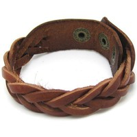 Bangle leather bracelet woven bracelet buckle bracelet men bracelet women bracelet with brown leather woven  1SZ-LH-007