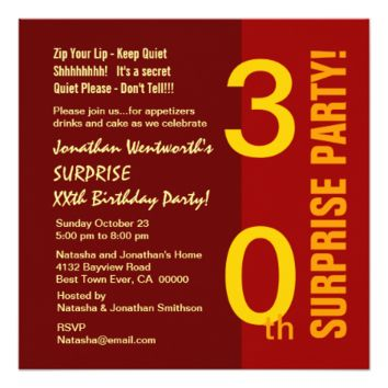 SURPRISE 30th Year Birthday Red Gold Sienna Custom Invites
