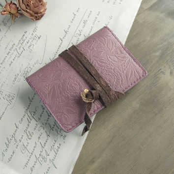 reserved - leather card holder - mauve pink rose - handstitched - vegetable tanned - card organizer, pink card case, leather cover for cards