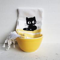 Black Cat Kitchen Dish Towel- White with Yellow Stripes-  Kitchen Decor, Tea Towel, Cat Lover Housewarming Gift, Animal, Kitten