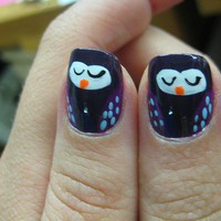 TeenieBopper / owl manicure! | Flickr - Photo Sharing!