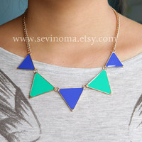 Triangle necklace, geometric necklace, green and blue Triangle necklace, ON SALE