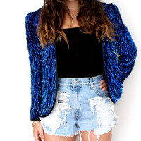 Sparkle Blue Sequin Jacket - Vintage Leslie Fay