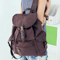 YESSTYLE: Smoothie- Buckled Drawstring Canvas Backpack (Coffee - One Size) - Free International Shipping on orders over $150