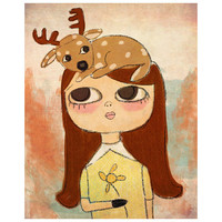 Hand Drawn Print San Jones Woodland Girl Illustration Deer Print