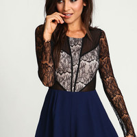 Midnight Lacy Pleated Romper
