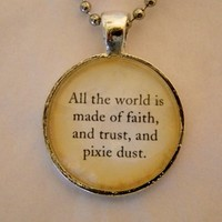 Faith Trust And Pixie Dust Necklace. Peter Pan Necklace. 18 Inch Ball Chain. from Evangelina's Closet