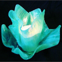 Vase Candle - Aqualime Pearl Opal Slumped Glass Vase and Dish