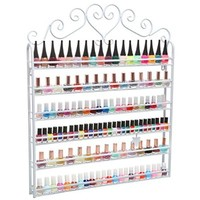 Professional White Metal Nail Polish Mountable 6 Tier Organizer Display Rack - MyGift®