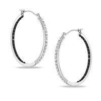 Enhanced Black and White Diamond Fascination™ Inside Out Hoop Earrings in Sterling Silver
