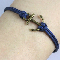 Anchor-antique bronze anchor bracelet,anchor wax cord bracelet,purple wax cords bracelet