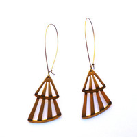 Fan earrings, long brass earrings