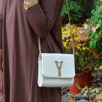 Why Oh Y Beige & Gold Chain Purse - Beige