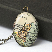 Amsterdam Map Jewelry, Netherlands Map Necklace, Netherlands Jewelry, World Traveler Gift, Map Necklace, Vintage Map Jewelry N445