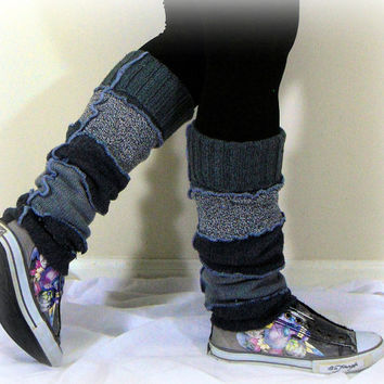 Gray Leg Warmers, Upcycled Womens Leg Warmers, Boot Toppers, OOAK  Leg Warmers, 100% Handmade Altered Clothing by Pandora's Passions