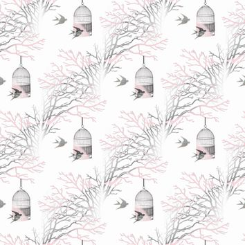 Bare Branches Birdcage Pink Gray - 13moons_design - Spoonflower