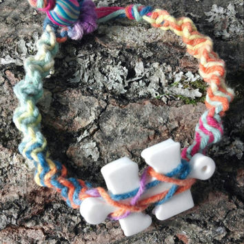 Autism jewelry - Autism bracelet multi color natural hemp and resin autism awareness puzzle piece free shipping by Geneva's Sky