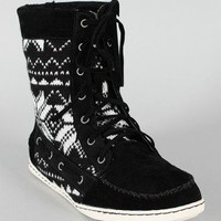 Bamboo Sidony-11 Lace Up Tribal Moccasin Boot
