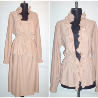Vintage 1970s Layered Dress Beige Plus Size
