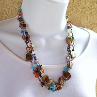 Necklace, beaded with Gold Shell chunky beads, three strands, by Jan4insight