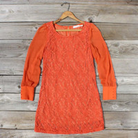 Laced in Autumn Dress, Sweet Women's Bohemian Clothing