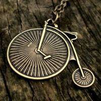 Brass Bicycle Necklace - $17.00 : RagTraderVintage.com, Handmade Indie Retro Accessories