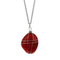 Red wire wrap stone pendant - Jewellery - New In - Dorothy Perkins