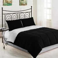 Bon Iver Extra Cozy Down Alternative Reversible Comforter - Black/White - Twin