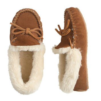 crewcuts Boys Suede Shearling Lodge Moccasins