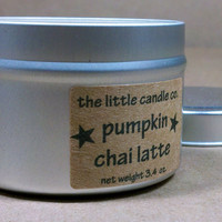 Soy Candle Tin: Pumpkin Chai Latte Scented Container Candles