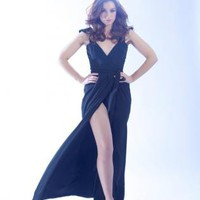 High slit black dress, wrap, | Cocktail Dress Dress | dress victoria beckham catwalk high | Chic | UsTrendy