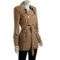 Calvin Klein khaki double breasted belted short trench | BLUEFLY up to 70 off designer brands