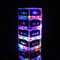 Modern Night Light Mixtape Table Lamp Repurposed Cassette Tape Mood Light Multi-Color Rainbow