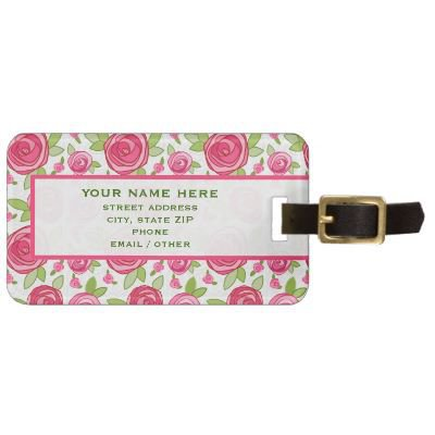 Hot Pink Rose Pattern Luggage Tag from Zazzle.com