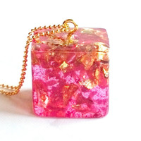 Pink Cubed Resin Pendant Gold and Pink Cubed Necklace Resin Necklace