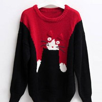 Red Slim Cat Cartoon Images Red Sweater$40.00