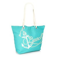 Aqua canvas anchor tote bag at debenhams.com