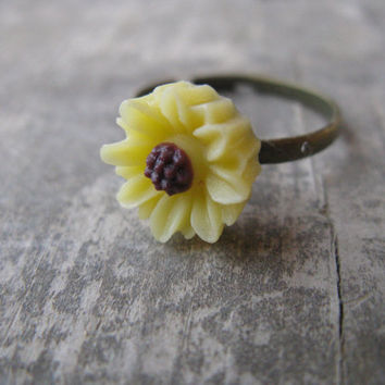 Yellow sun flower ring,sunflower ring