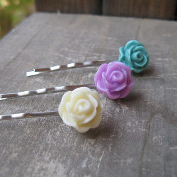 Flower Bobby Pin Set,set of 3 bobby pins,rose bobby pin