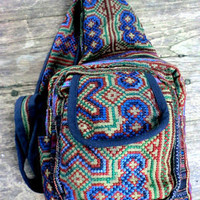 Sage Green Tribal Backpack Hmong Embroidery