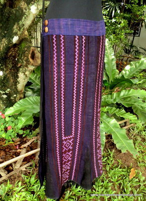 Vintage Hmong Embroidered Cotton &amp; Hemp Wrap Skirt