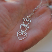 Hearts Necklace. Sterling silver Hearts Pendant. Three hearts. Hammered texture design. wedding. Gift for her.