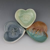 Heart Dishes - spoon rest - teabag rest - jewelry holder - soap dish