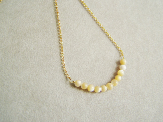 Thin golden chain necklace, mother of pearl beads, sterling